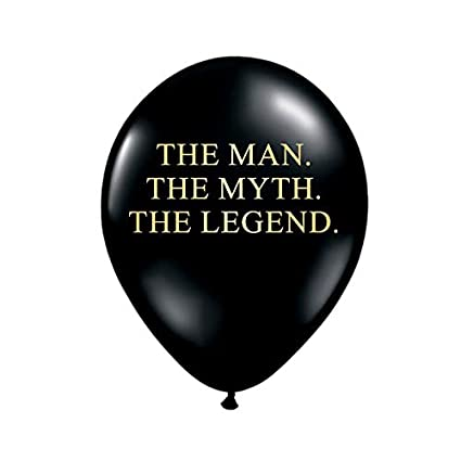 White Rabbits Design The Man Myth Legend Balloons In Black And Metallic Gold