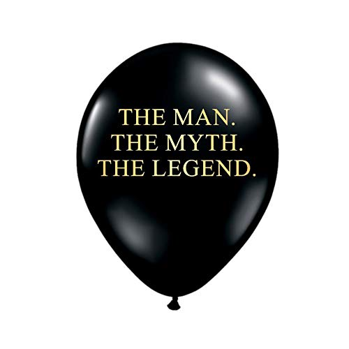 White Rabbits Design The Man Myth Legend Balloons In Black And Metallic Gold Birthday Party Decorations For Him Funny
