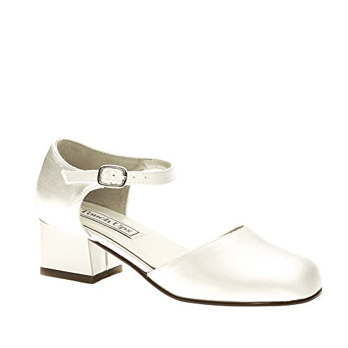 Youth White Satin (Touch Ups Girls' Clarissa,White Satin,US 13 M)