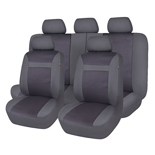 - Flying Banner Black and Gray Mesh and Jacquard Universal Car Seat Cover Sets for Cars with Airbag Compatible