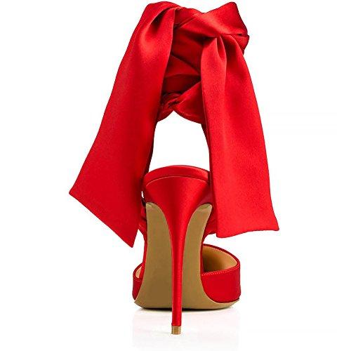 Sangles Red Grande Transgenre TLJ Élastique Talon Soirée Pointu KJJDE Cheville De Plateforme De Haut Club 36 52 Mariage Femme Taille Fête Sexy Bout c1SWFWq0