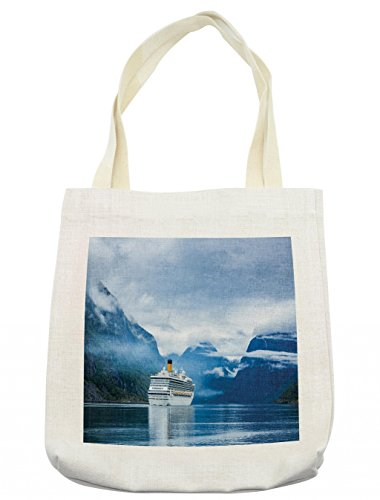 Lunarable Holiday Tote Bag, Cruise Liners On Hardanger Fjorden, Norway Mountain Summer Holidays Landscape, Cloth Linen Reusable Bag for Shopping Groceries Books Beach Travel & More, Cream