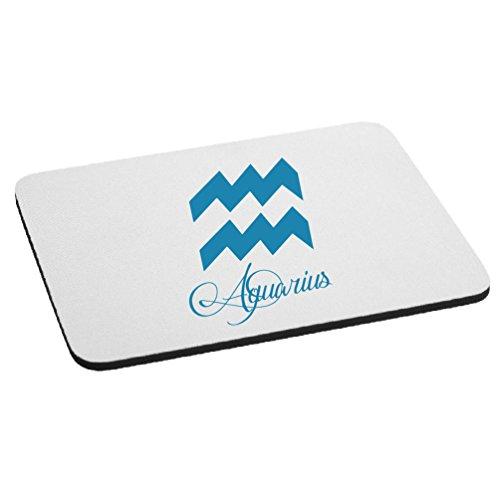 Zodiac Sign Aquarius Script Writing Silhouette Mouse Pad - Blue by Clothing Serpent