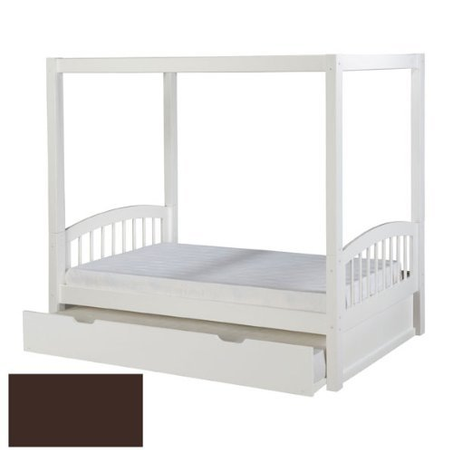 Canopy Wood Solid - Camaflexi Arch Spindle Style Solid Wood Canopy Bed with Trundle, Twin, Cappuccino