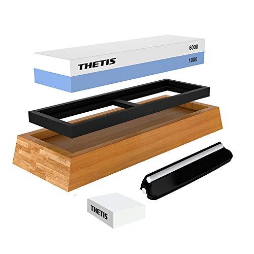 Knife Sharpening Stones, Thetis 1000/6000 Grits Whetstone Set - Knife Sharpener Kit with Non-Slip Bamboo Base, Angle Guide, Flattening Stone & Ebook