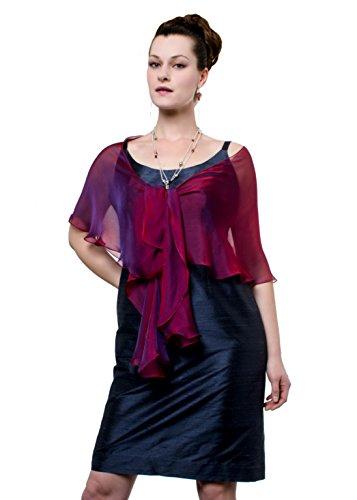 Fuchsia-Purple Evening Wedding Silk Chiffon Fluttering Scarf Wrap Shawl by Lena Moro