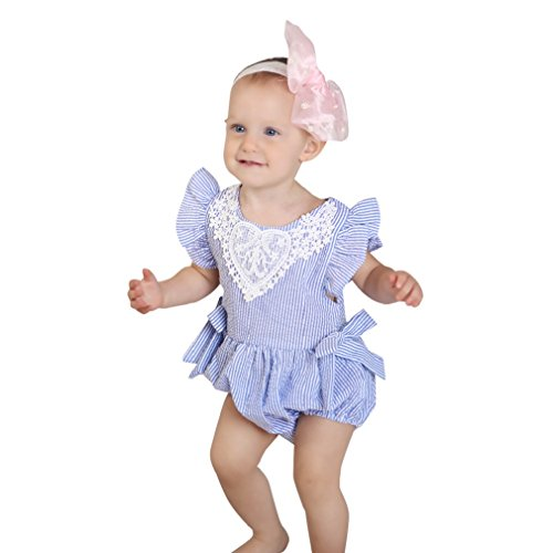 FEITONG Newborn Infant Baby Girls Romper Lace Striped Bowknot Stripe Flying Sleeveless Jumpsuit Outfits Clothes (Blue, 6-12M) ()