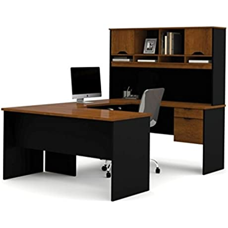 Bestar U Shaped Desk W Hutch 84 7 8 D X 59 13 16 L W X 66 7 16 H 1 Commercial Grade Worksurfaces Tuscany Brown Black