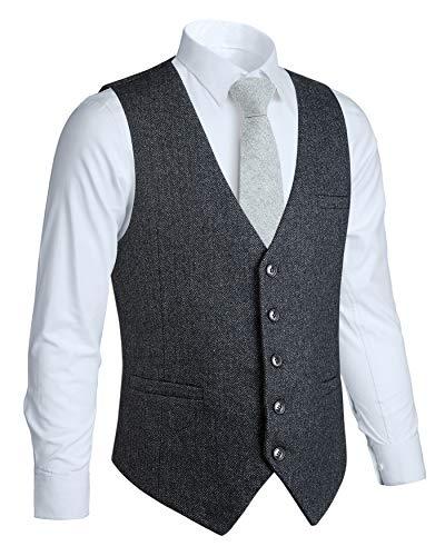 HISDERN Chaleco Formal de Boda para Hombre 5 Botones Chaleco de Lana Chaleco de Tweed en Espiga Chaleco de Traje