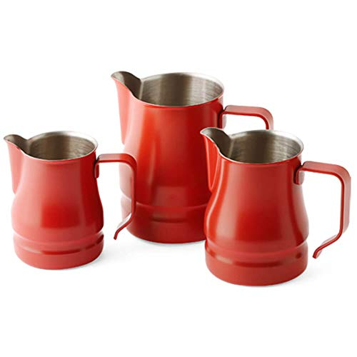 Ilsa Evolution Milk Frothing Pitcher Professional Latte Art Milk Steaming Jug Stainless Steel, Red, Set of 3 by Ilsa (Image #4)