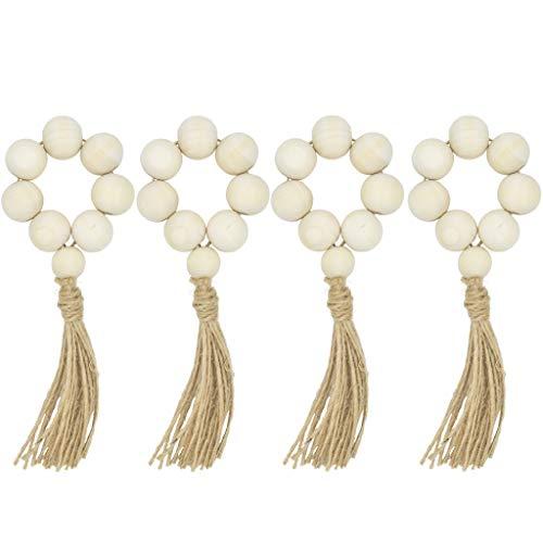 Richi 4Pcs Natural Wooden Bead Napkin Rings ()