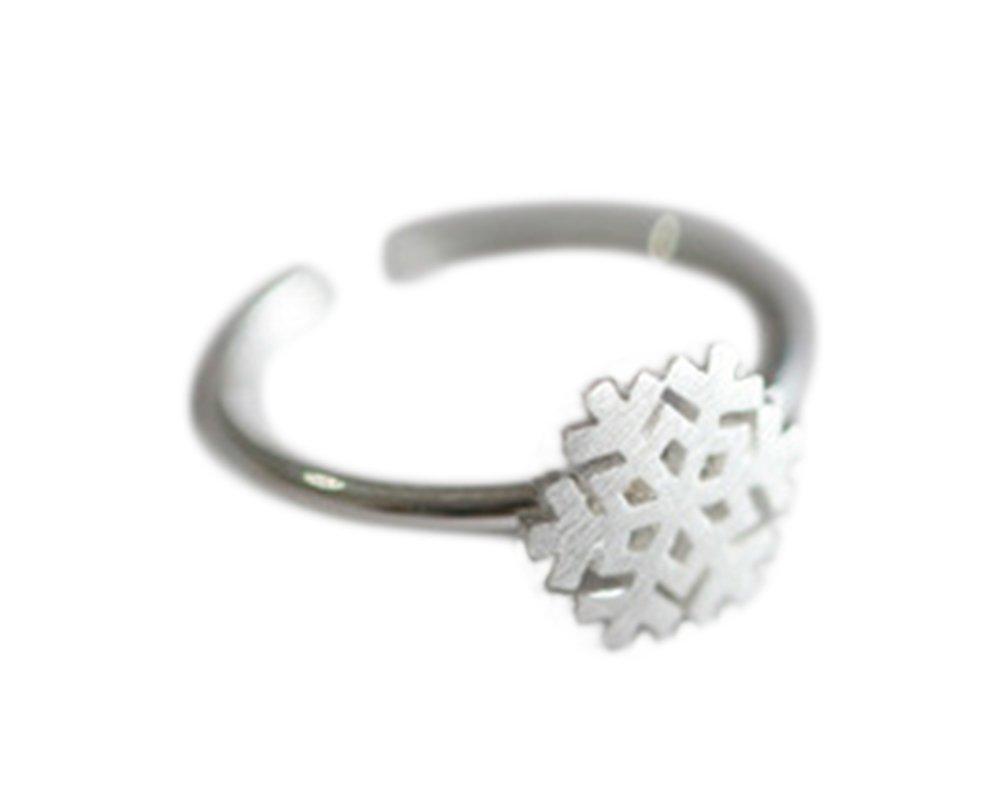 Outflower 1pcs Adatti il regalo sveglio di compleanno della ragazza del regalo di dimensione regolabile dell'anello aperto dei monili del fiocco di neve di Natale spazzolato di modo