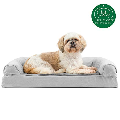 Furhaven Pet Dog Bed | Orthopedic Ultra Plush Faux Fur & Suede Traditional Sofa-Style Living Room Couch Pet Bed w/ Removable Cover for Dogs & Cats, Gray, Medium