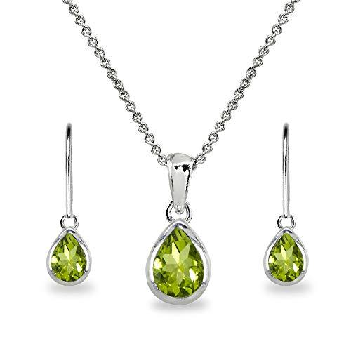 Sterling Silver Peridot Teardrop Bezel-Set Pendant Necklace & Dangle Leverback Earrings Set for Women, Teen Girls