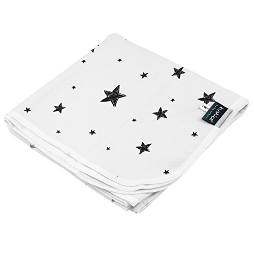 Kushies Receiving Blanket, Scribble Stars Black & -