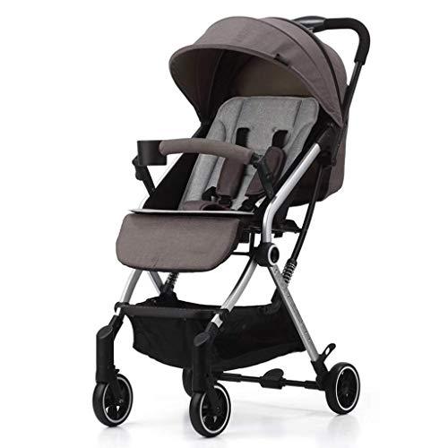 DXDZQ Baby Stroller, Foldable Lightweight Baby Stroller, Sleek & Versatile, Oversized Storage Basket, Travel Stroller, Reclining Seat (Color : Gray)