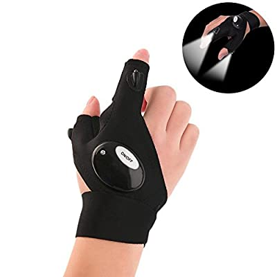 Geekercity Fingerless LED Flashlight Gloves, Magic Strap Glove for Night Fishing, Camping, Hiking, Repairing, Working in Darkness Place, and Outdoor Activities