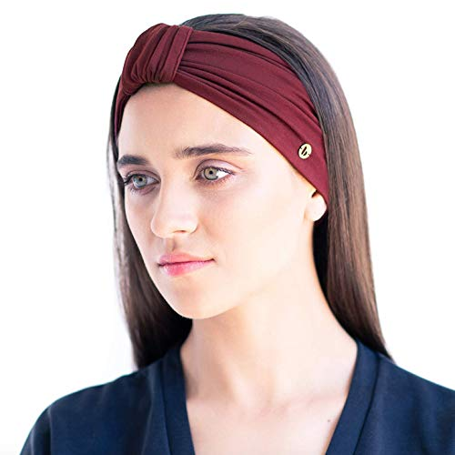 BLOM Original Multi Style Headband. for Women Yoga Fashion Workout Running Athletic Travel. Wear Wide Turban Thick Knotted + More. Comfort Style & Versatility. (Maroon) - Fashion Band The