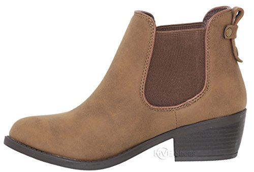 Toe Ankle Womens Bootie MVE Cute Heel On Almond Strech Pu Slip Low Brown c Shoes Boot wFwBqfzg