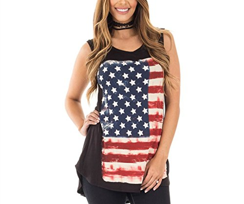c6cb26c038c Xuan2Xuan3 Women Patriotic American Flag Camisole Tank Top Tee Vest  Sleeveless Tunic T Shirt USA Independence Day Plus Size