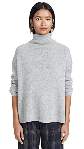 Vince Women's Funnel Neck Pullover, Med Heather Grey, ()