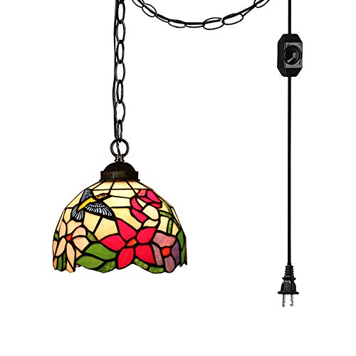 (STGLIGHTING 15ft Plug-in UL Listed On/Off Dimmer Switch Cord with Iron Chain Tiffany Colorful Handmade Mediterranean Glass Shade Antique Chandelier Decorative Pendant Light Bulb Not Included TB0454)