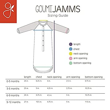 Goumikids Goumijamms Organic Smart Baby Gown With No Scratch Mitts and Foot Pockets With Easy Diaper Change Blue