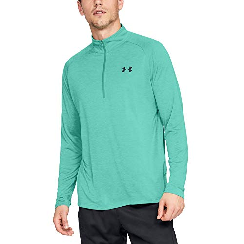 Under Armour Men's Tech 2.0 1/2 Zip, Green Malachite (349)/Black, Large