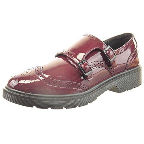 Sopily - Scarpe da Moda scarpa derby alla caviglia donna finitura cuciture impunture verniciato fibbia Tacco a blocco 3 CM - Rosso