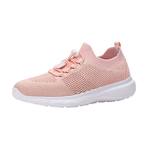 WENSYCasual Women's Outdoor Flying Woven Mesh Sneakers Running Breathable Soft Bottom Running Sneakers(Pink,41) ()