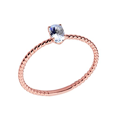 Dainty 14k Rose Gold Stackable Oval-Shaped Aquamarine Rope Engagement/Promise Ring (Size 7.5)