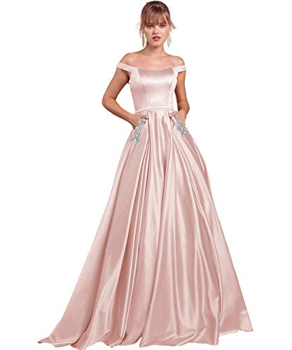 Women's Formal Off The Shoulder A-line Floor Length Party Gown Satin Beaded Evening Formal Gown with Pockets US6 Blush