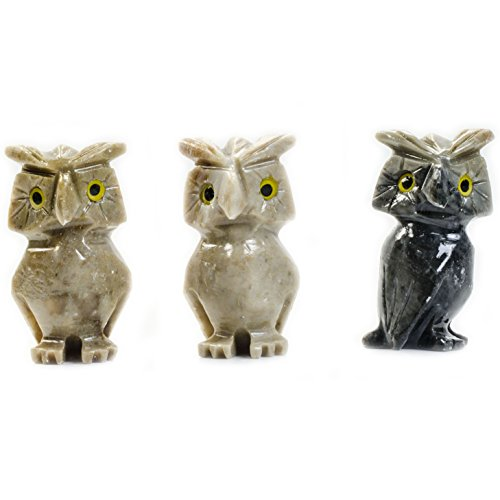 - Fantasia Creations: 10 pcs Owl Soapstone Animal Figurine - Hand Carved Master Artisans for Party Favors, Collecting, Wire Wrapping, Gifts and More!