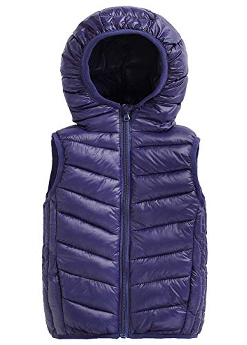 (Happy Cherry Toddler Girls Cotton Vest Hooded Puffer Down Waistcoat Sleeveless Lightweight Jacket Navy Blue)