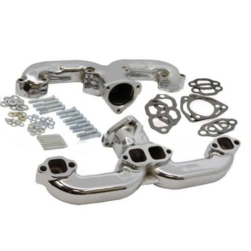 Chrome Smoothie Rams Horn Exhaust Manifolds Headers for Small Block Chevy SBC Hot Rod