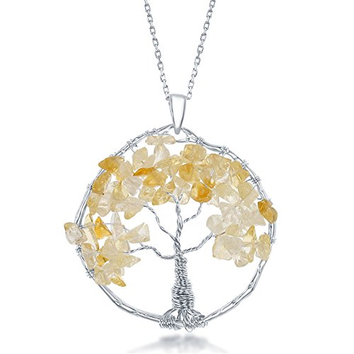 Sterling Silver Citrine Natural Gemstone Beads Tree of Life 30