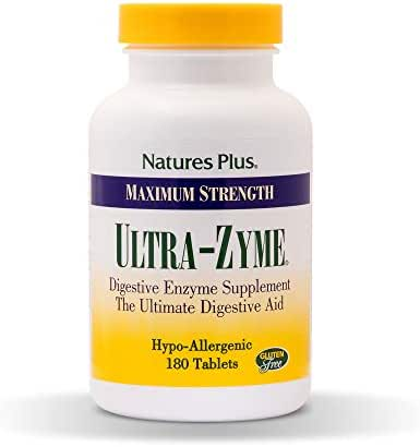 NaturesPlus UltraZyme - 120 mg Ox Bile, 180 Tablets - Maximum Strength Digestive Enzyme Supplement, Anti-Inflammatory, Promotes Nutrient Absorption - 90 Servings