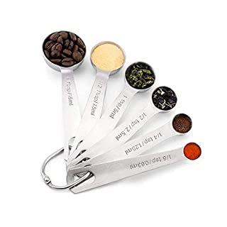OUYOOOO Stainless Steel Measuring Spoons,6-Piece Set,Round, for Dry and Liquid Spices, Coffee Beans, Salt, Pepper, Honey and More