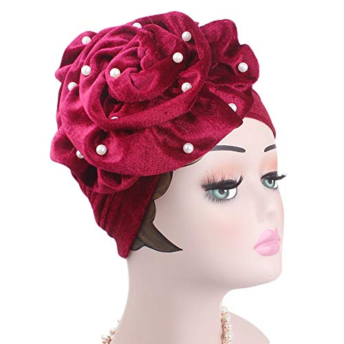 - Pearls Beaded Flower Velvet Turban Women Bonnet Hair Loss Cap Muslim Turbante Party Hijab Headwear Hair Accessories burgundy red onesize fit most