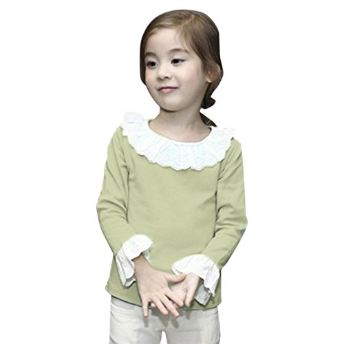 FANOUD Fashion Baby Girls Children Casual Ruffled T-Shirts Lace Solid Tops Blouse Clothing (6T,