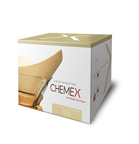 Chemex Bonded Unbleached Pre-folded Square Coffee Filters, 100 Count by Chemex
