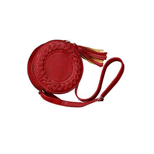 buon tinta a unita Tracolla regolabile mercato Cuoio Rosso Mini 19x8x19cm donna cerniera piccolo Borsa Sylar nappa con tracolla tondo 7ybYf6gv