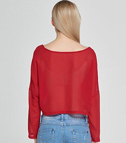 NiSeng Mujeres Verano Blusa Crop Top De Manga Larga De Gasa Camisa De Redonda Cuello Short Camiseta Top Shirt Rojo