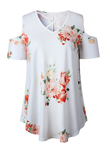 Maglietta OUFour Bende Donne Manica Camicie Tunica Tops Spalline Bianca Shirt Corta Senza Lungo Estivo V Bluse Moda T Collo Floreali fr8qFfR1W