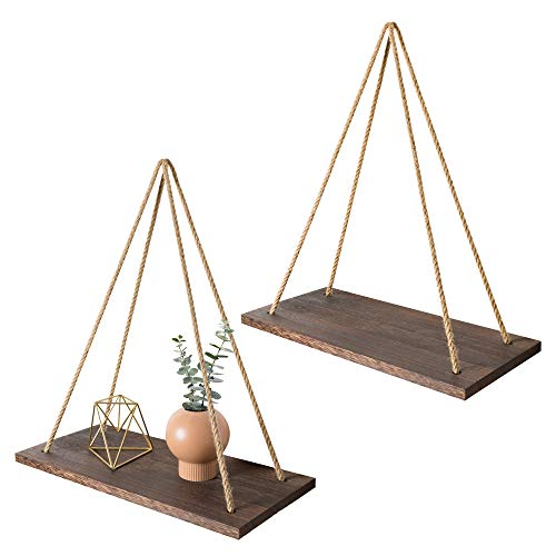 Mkono Wood Wall Floating Shelf Rustic Hanging Swing Rope Shelves, Set of 2 Wall Display Shelves Home Organizer Boho Decor Shelves for Living Room Bedroom Bathroom Kitchen (Bohemian Themed Room Living)