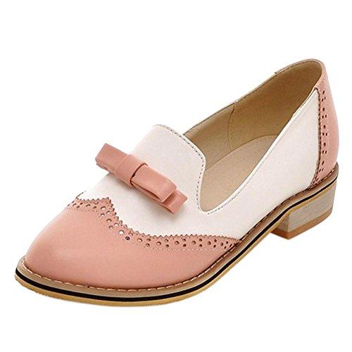 Scivolare Moda Tacco con Oxford Donna Pink TAOFFEN Scarpe su qEvw57Yx4