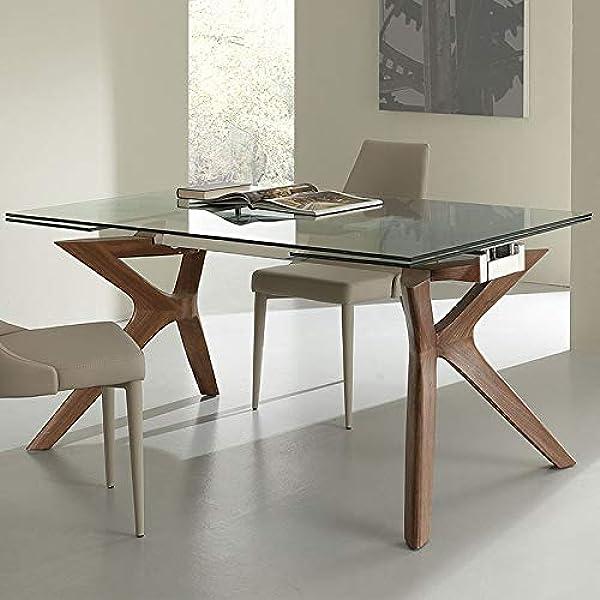 Mesa de comedor con extensión de cristal y madera Marisa: Amazon ...