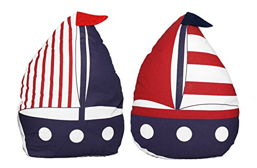 Set of 2 Fabric Sailboat Door Stops (Door Stopper Sandbag)