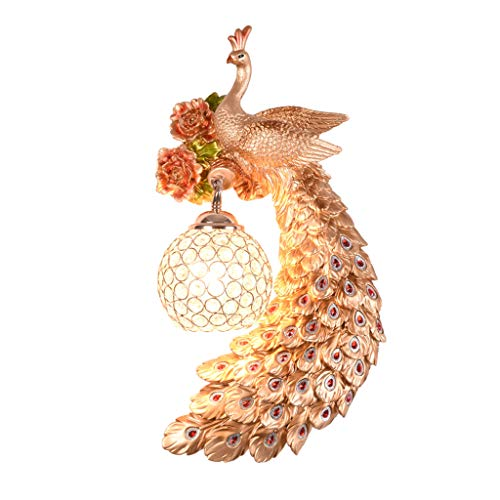 European-style LED crystal wall lamp modern carved resin peacock wall light, American atmosphere living room walkway bedroom bedside decorative wall lamp (42 x 21 cm)