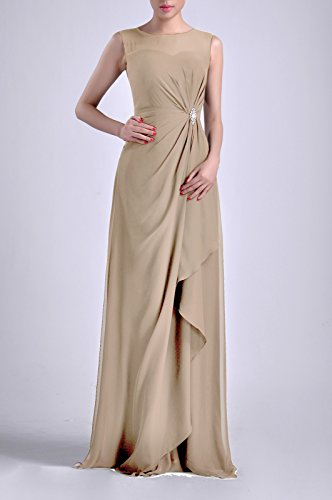 Straps Dress Adorona Chiffon Sleeveless Champagne Women's Long Sheath Natrual Bateau xx4tUqwTa